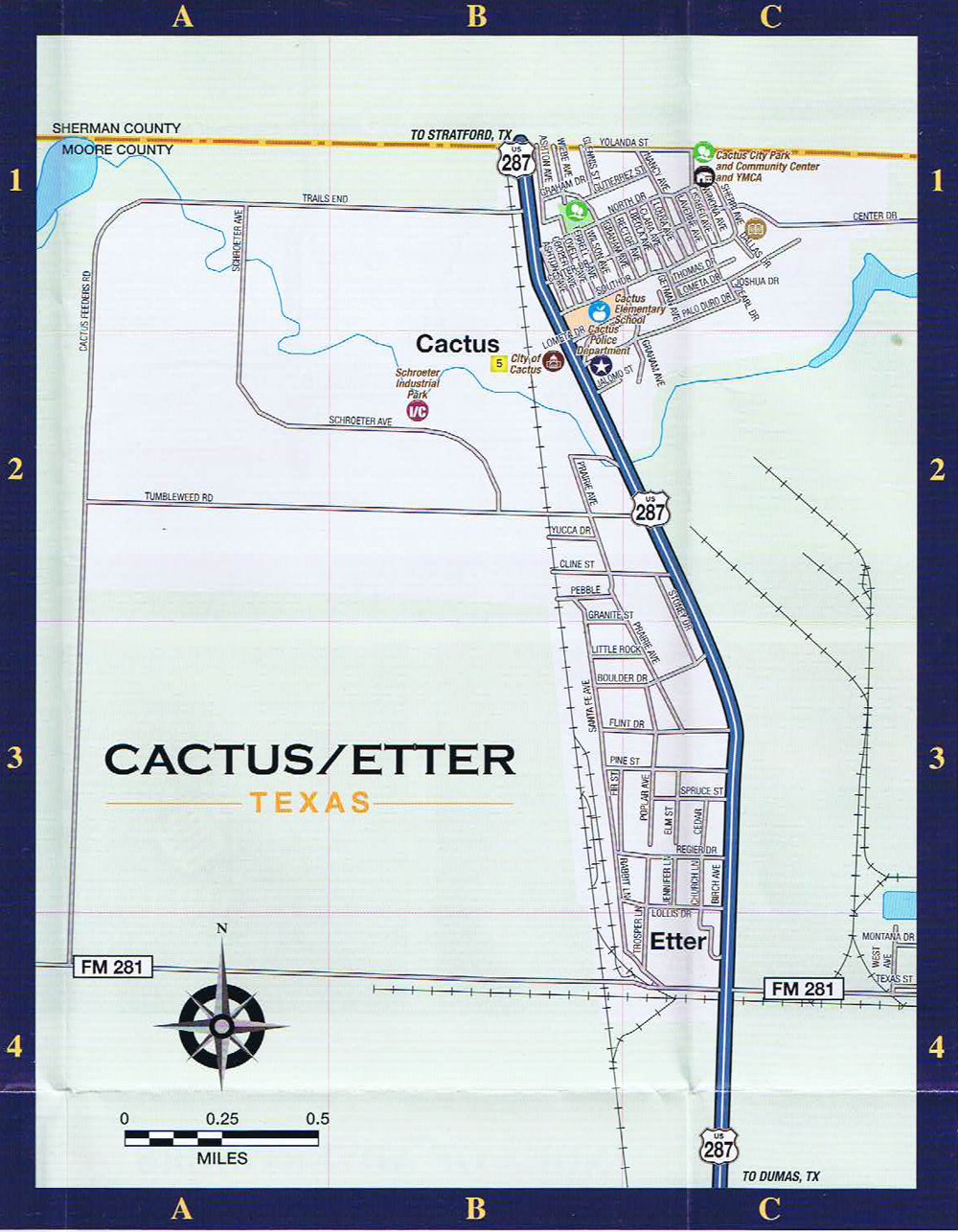 cactus texas city street map