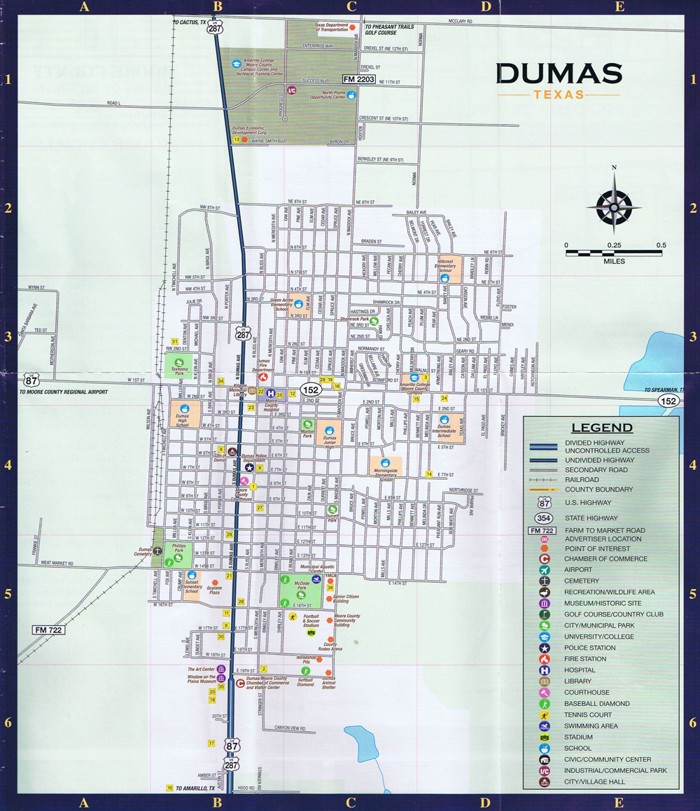 dumas texas city street map