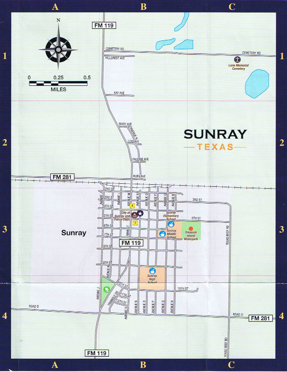 sunray texas city street map